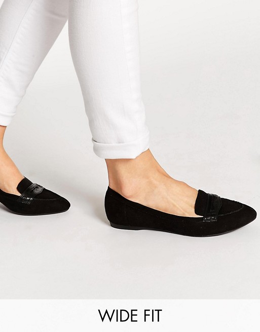 New Look Wide Fit Jolt Flat Loafer Shoes