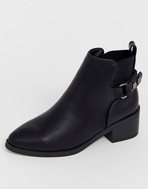 New Look wide fit leather look chelsea boot in black