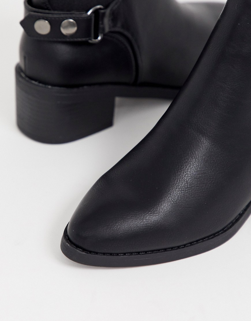 New Look Wide Fit Leather Look Chelsea Boot In Black by New Look