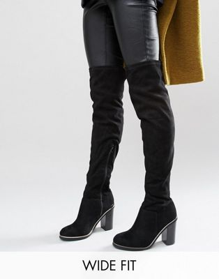 New Look Wide Fit Metal Piping Over The Knee Boots