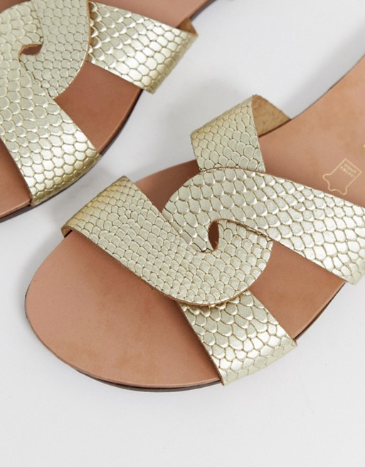 New Look Wide Fit Real Leather Metallic Twist Detail Sandal by New Look