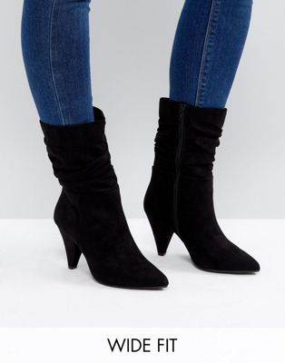 Image 1 of New Look Wide Fit Slouch Cone Heeled Boot