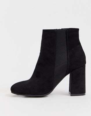 New Look wide fit suedette heeled chelsea boot in black