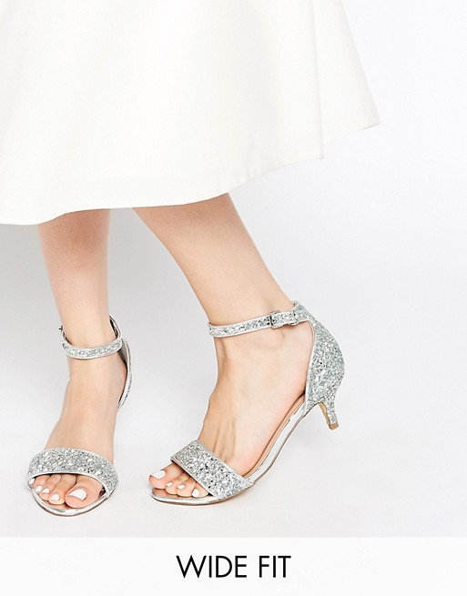 New Look Wide Fit Vista Silver Glitter Kitten Heel Sandals Asos