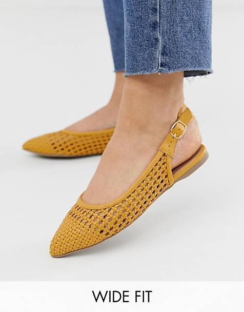 New Look Wide Fit woven slingback shoes in dark yellow