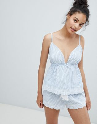 New Look Woven Stripe Broderie Cami And Short Pyjama Set