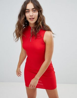 New Look Zip Detail High Neck Bodycon Dress