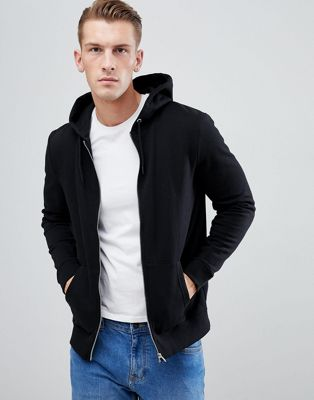 New Look Zip Through Hoodie In Black