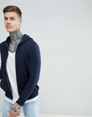 New Look Zip Through Hoodie In Navy