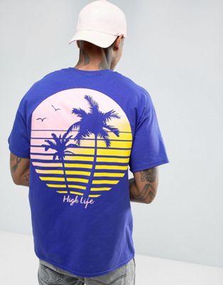 New Love Club Palm Tree Back Print T-Shirt