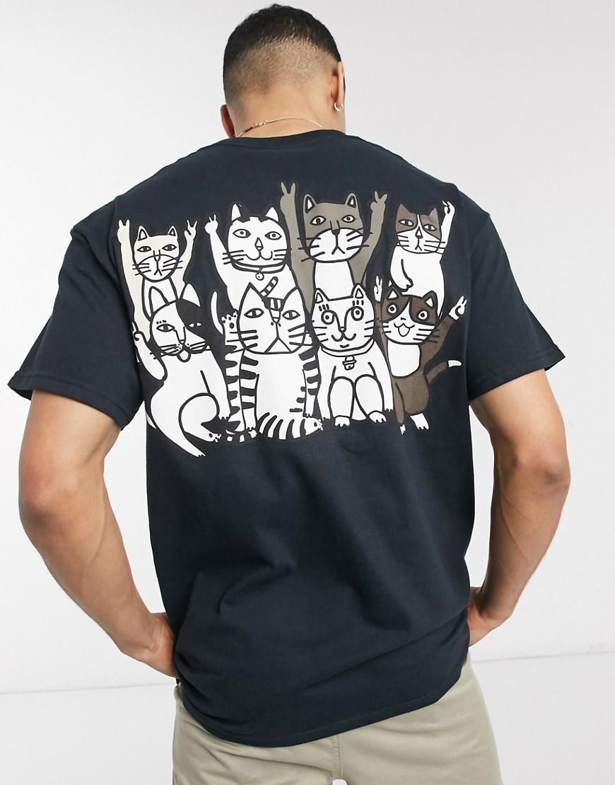 New Love Club - T-shirt oversize motif gang de chats-Noir