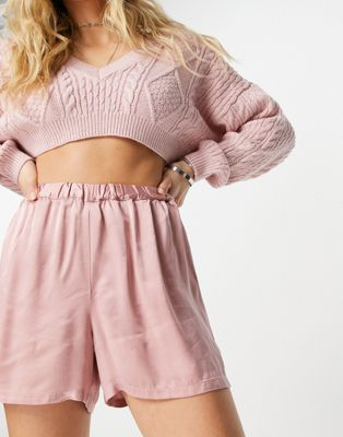 Ghost Harlow satin shorts in baby pink - ASOS Price Checker