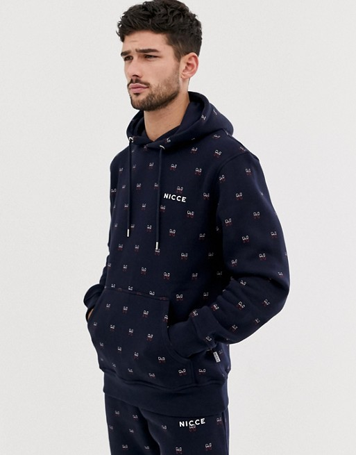 Nicce hoodie with all over logo in navy