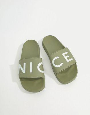 Nicce London Logo Sliders In Khaki