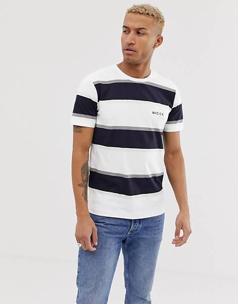 Nicce – Weißes T-Shirt mit Streifen