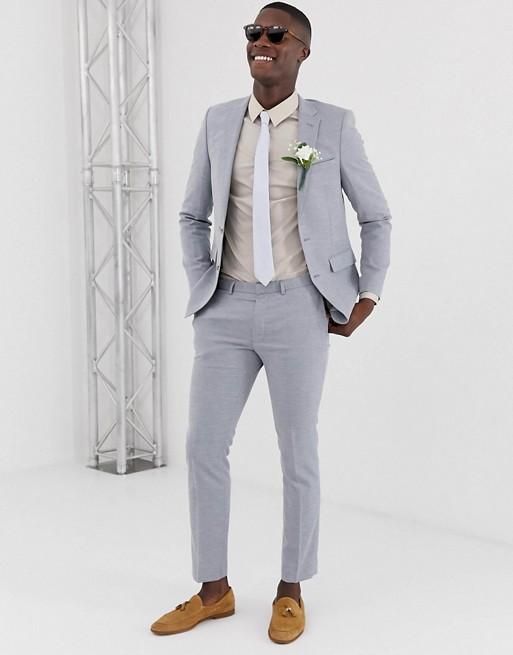 Niebieskie lniane spodnie garniturowe Burton Menswear