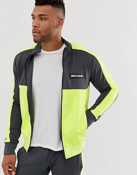 Night Addict neon panel zip thru tracksuit jacket