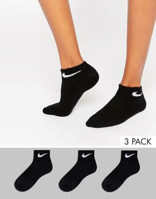 Nike 3 Pack Black Cushion Quarter Socks