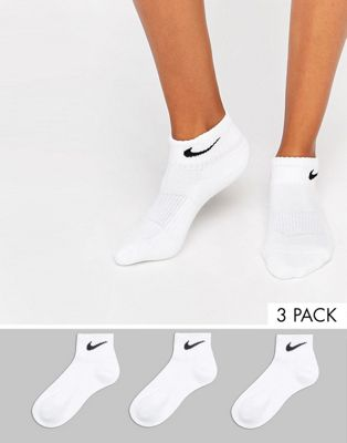 Nike 3 pack white cushion quarter socks