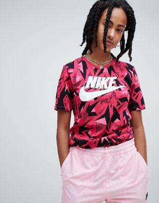Nike 90S T-Shirt In All Over Pink Print