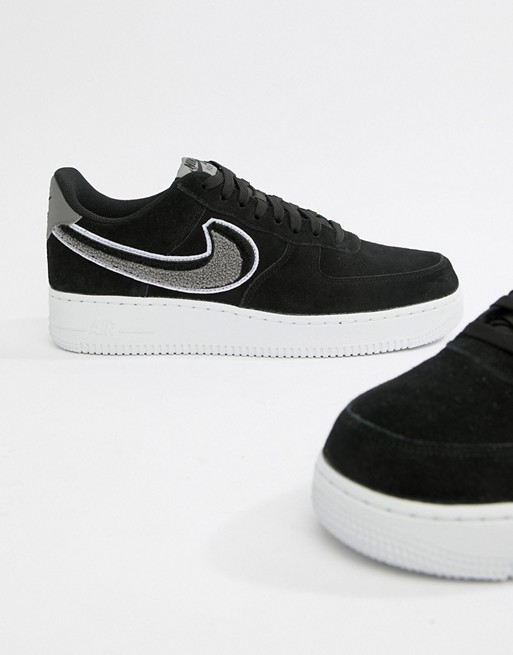 Nike Air Force 1 '07 Trainers In Black 823511 014 Black