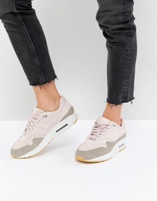 Nike Air Max 1 Trainers In Perforated Suede