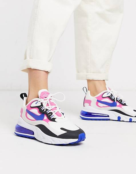 Nike Air Max 270 React white pink and black sneakers
