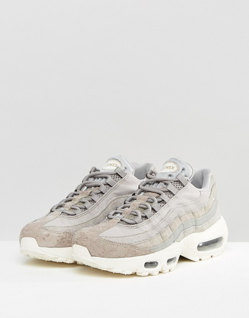 outlet store 28f24 72e28 Nike Air Max 95 Premium Sneakers In Light Grey   ASOS