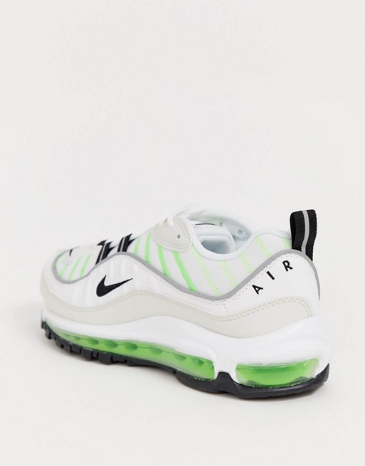 Nike Air Max 98 Trainers In White And Neon Green by Nike