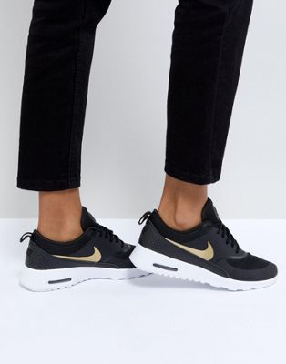 Nike Air Max Thea Trainers In Black And Gold