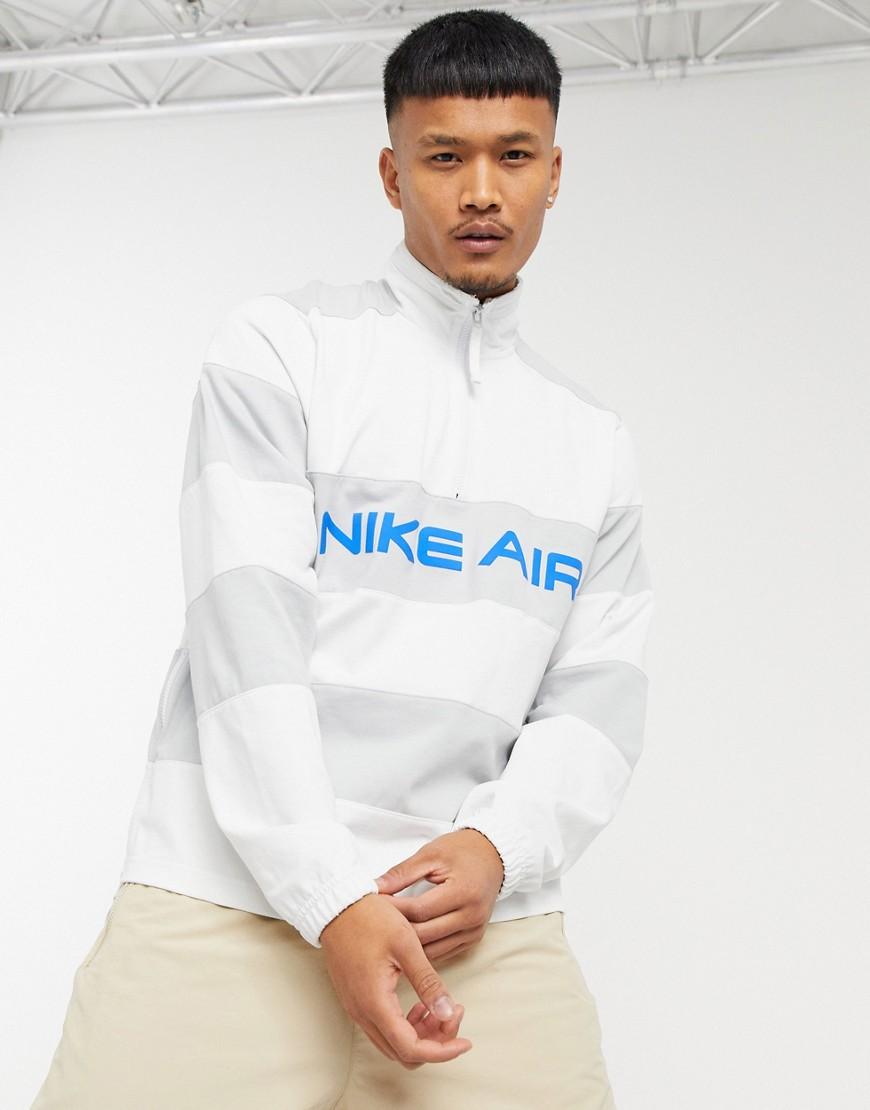 Nike - Air - Sweatshirt med striber og halv lynlås i grå/råhvid