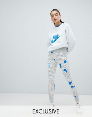 Nike Archive Exclusive To Asos Grey Graphic Print Leggings