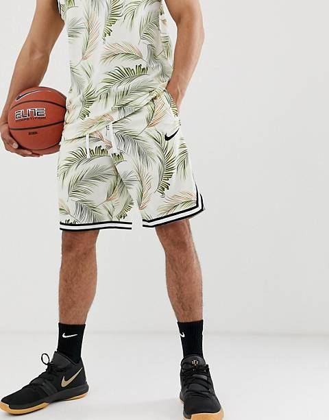 Nike Basketball leaf print shorts in cream