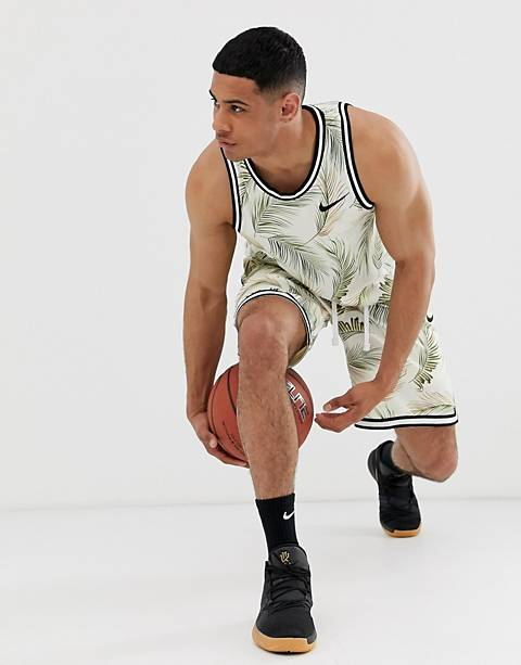 Nike Basketball leaf print tank in cream