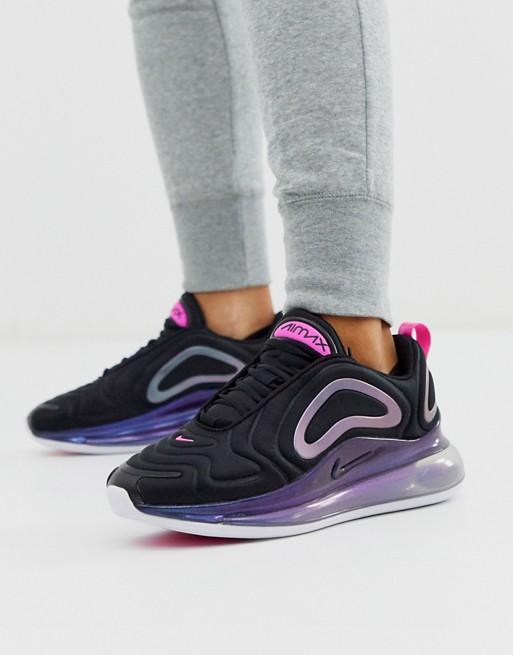 Nike black and pink air max 720 sneakers