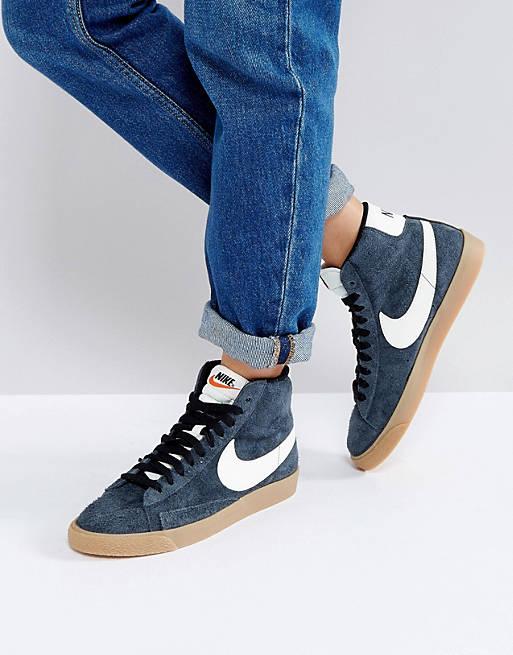 Nike Blazer Mid Sneakers In Black Suede