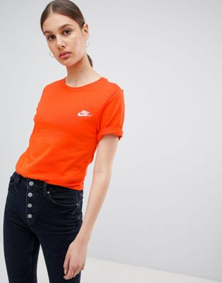 Nike Boyfriend T-Shirt With Embroidered Logo In Orange