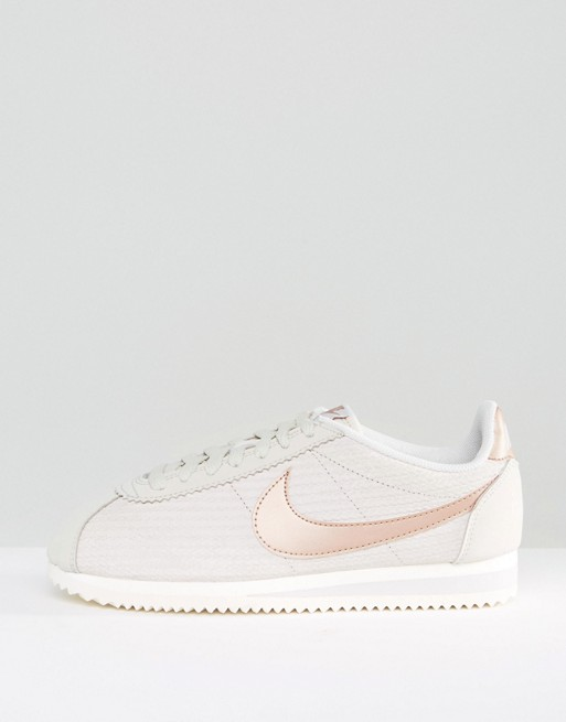 Nike Classic Cortez Leather Luxe Trainers In Bone And Metallic ...
