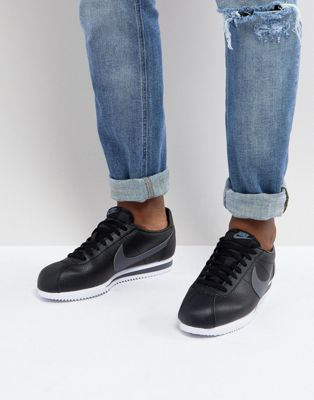 Nike Classic Cortez Leather Trainers In Black 749571-011