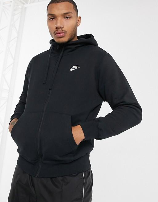 Image 1 of Nike Club zip-up hoodie in black 804389-010