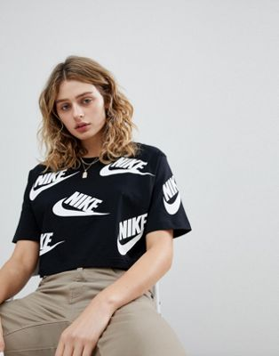 Nike Cropped T-Shirt In All Over Futura Print