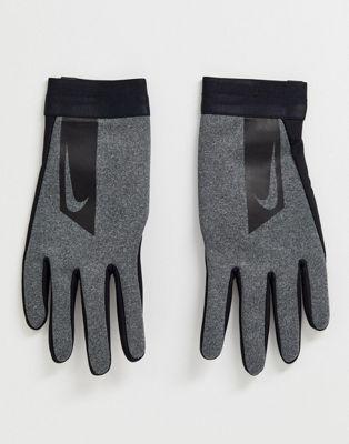 Nike Football Academy Hyperwarm – Szare rękawiczki do gry w piłkę nożną z silikonowymi elementami na palcach i dłoniach