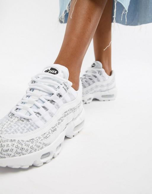 10358f116ac Nike – Just Do It – Svartvita Air Max 95 Se-sneakers med tidningstryck |  ASOS