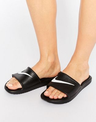 Nike Kawa Swoosh Sliders Sandals In Black