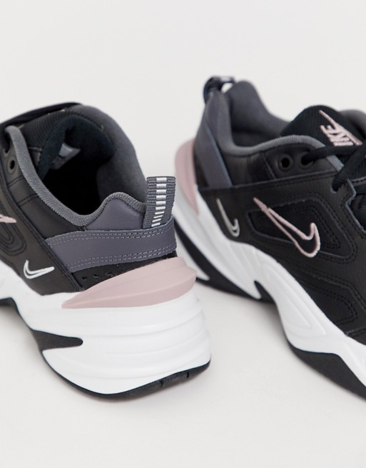 well known quality products on feet at Nike M2K Tekno trainers in black and pink