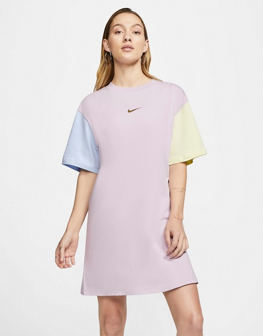 Nike Mini Metallic Swoosh Pastel Colour Block T Shirt Dress Asos