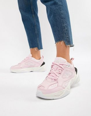 Image 1 of Nike Pink With Contrast Sole M2K Tekno Trainers