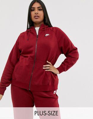 Nike Plus Burgundy Essentials Zip Through Hoodie