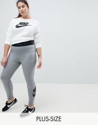 Nike Plus – Leg-A-See – Graue Leggings mit hoher Taille