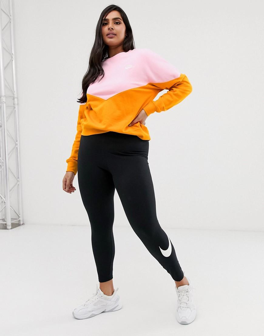 Nike Plus Pink And Orange Colourblock Sweatshirt by Nike